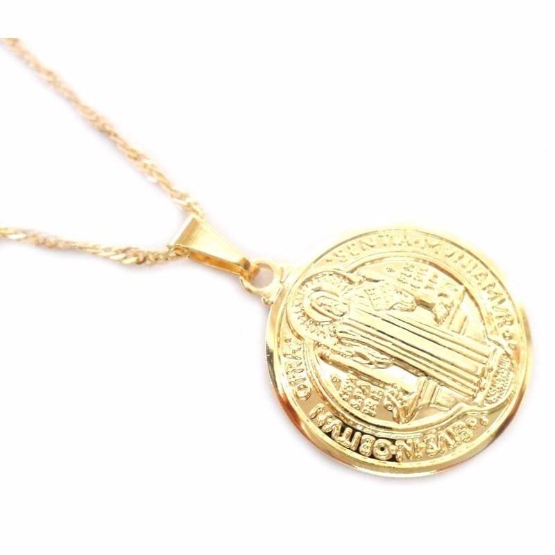 c00af0486a9ff corrente feminina e pingente medalha são bento folheado ouro. Carregando  zoom.