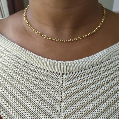 corrente feminina elo português 45cm folheada ouro garantia