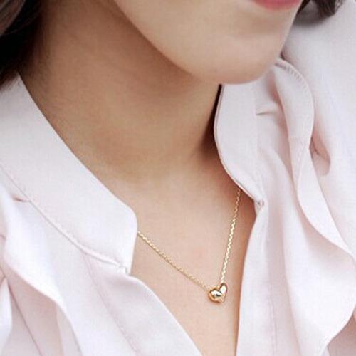 corrente feminina ouro banhado 45cm colar + pingente coração