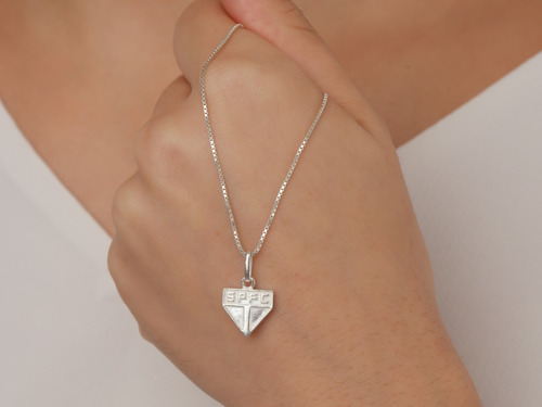 corrente feminina prata pingente time são paulo fc prata 925