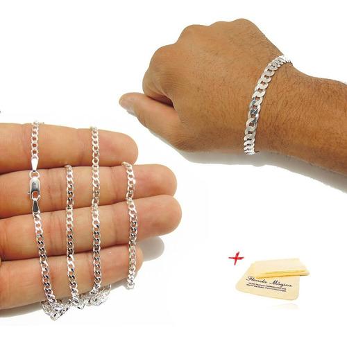 corrente fina 3mm pulseira 6mm masculina de prata 925 grumet