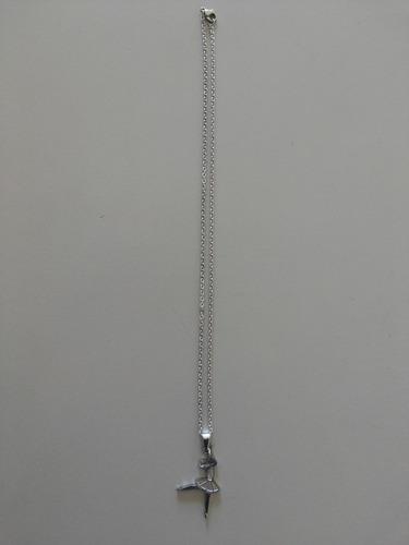 corrente fina aço inox 316l e pingente bailarina cor prata