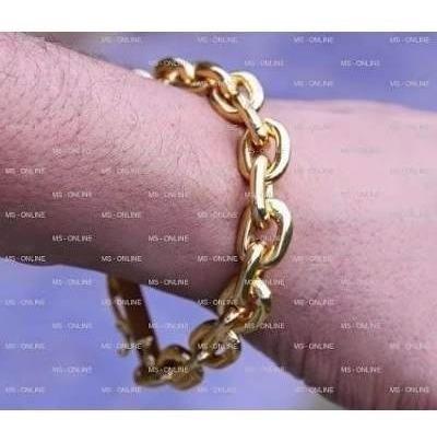 corrente folheada a ouro 18k 70cm 11mm com pulseira