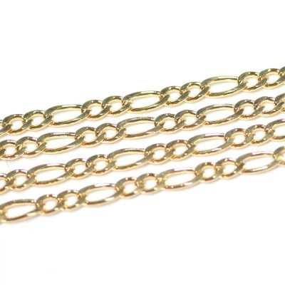 corrente folheado a ouro grumet 3x3 50cm / 3.0mm