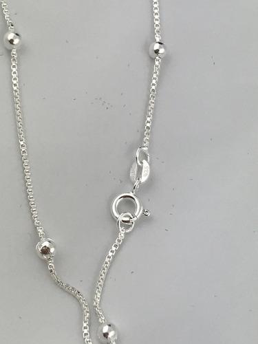 corrente  gargantilha bolinha 3mm prata 925 45 cm