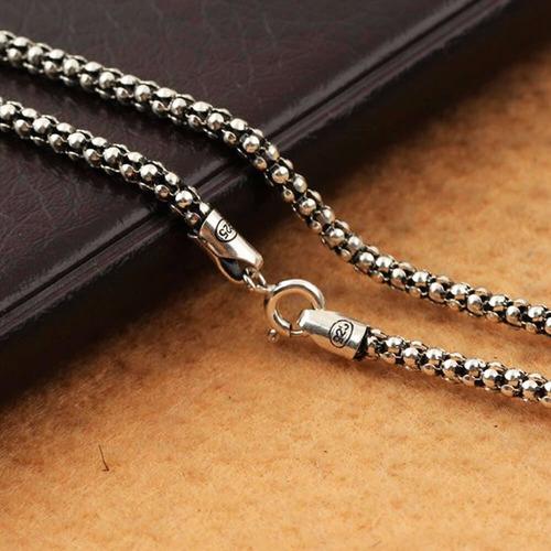 corrente gargantilha colar de prata bali pipoca 70 cm