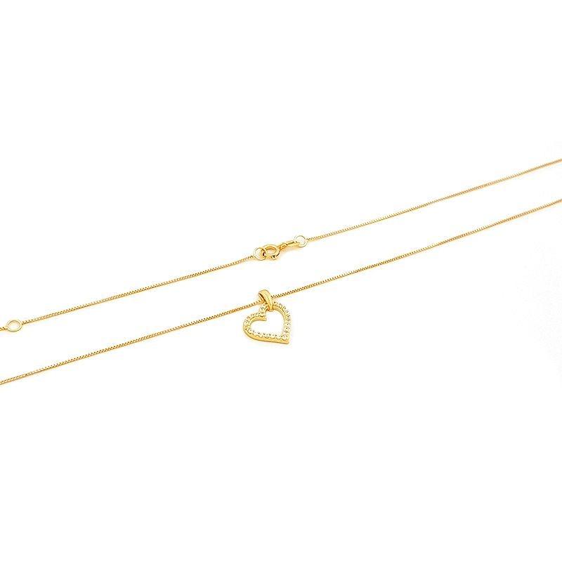 49fefee1315ca corrente gargantilha de ouro de coração com zircônia 45 cm. Carregando zoom.