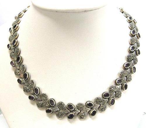 corrente gargantilha pulseira prata 925  ametista  - co2040