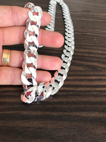 corrente grossa  16mm 70cm  escama 1x1 grumet maciça prata