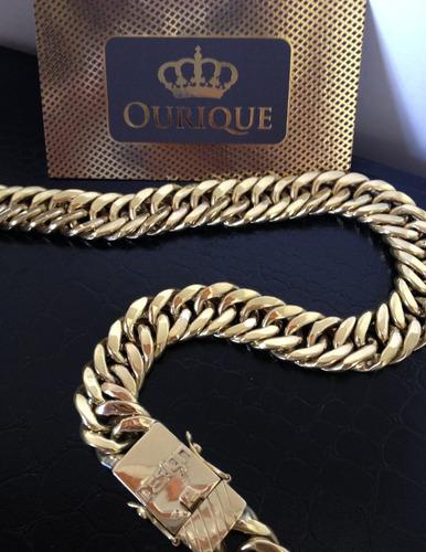 corrente grossa em ouro 18k 750 grumet duplo 145g promoção