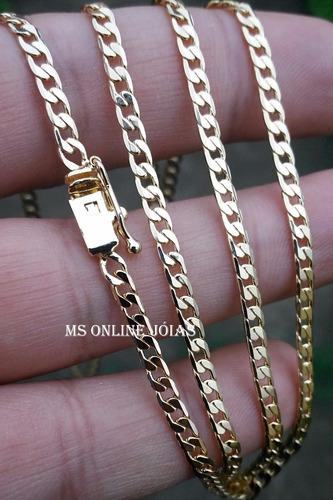 corrente grumet 70cm 3mm com pulseira banhados a ouro 18k