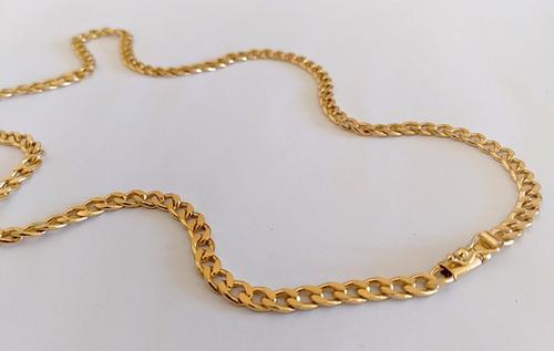 corrente grumet 70cm e 5mm banhada a ouro - elos soldados