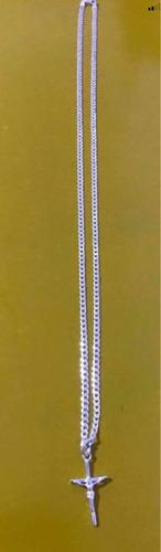 corrente grumet escama fina prata 925 pingente crucifixo