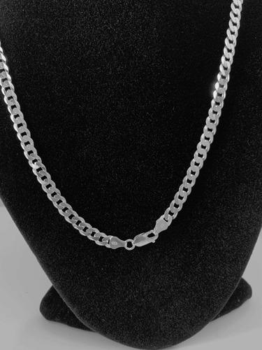 corrente grumet média  prata 925 maciça masculina