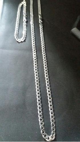corrente grumet prata 925 70 cm 4,5 mm + pulseira 4,5 mm