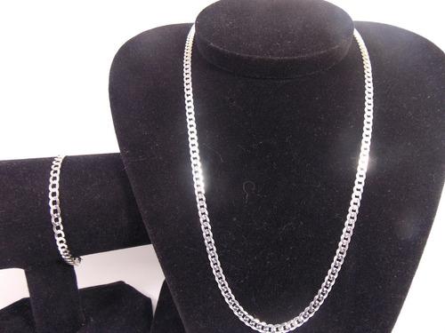 corrente grumet prata 925 70 cm 4,7 mm + pulseira 4,7 mm