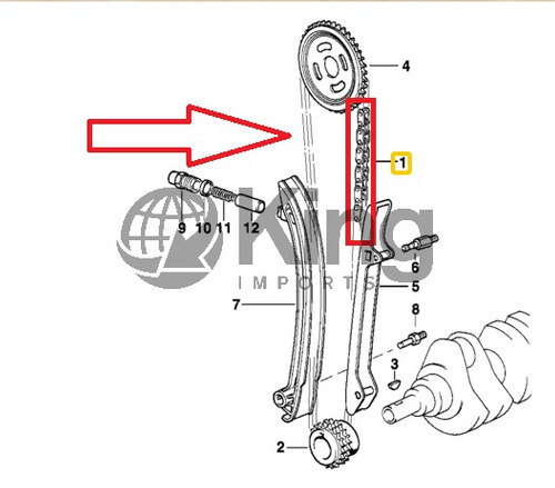 corrente inferior do motor bmw 323 1996 - 2003 6 cilindros