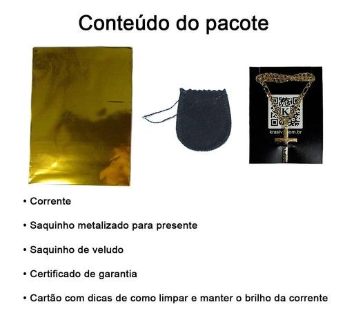 corrente masculina 1x1 60cm banhada a ouro