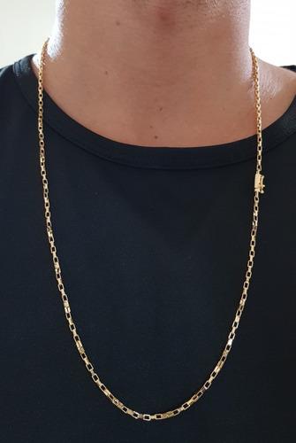 corrente masculina 2mm banhado a ouro 18k com estojo