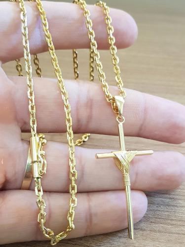 corrente masculina 2mm e pingente cruz banhados a ouro 18k