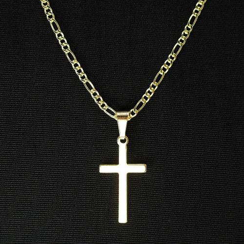corrente masculina 3x1 60cm crucifixo folheada a ouro 18k