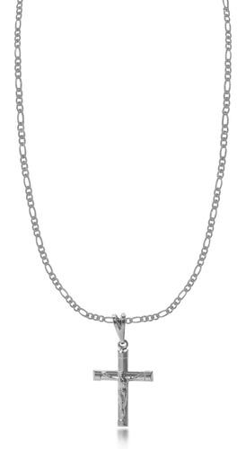 corrente masculina 3x1 cruz jesus menor folheado prata 1000