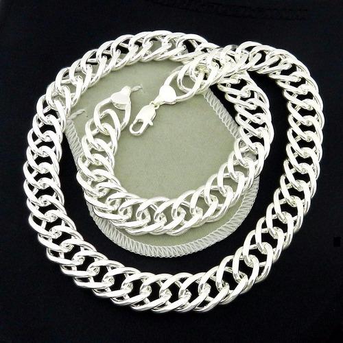 corrente masculina 50cm 15mm largura folheada prata  cr110