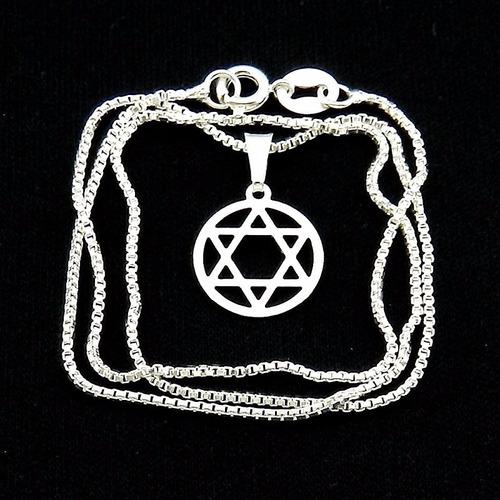corrente masculina 50cm 1mm + estrela folheada prata cr699