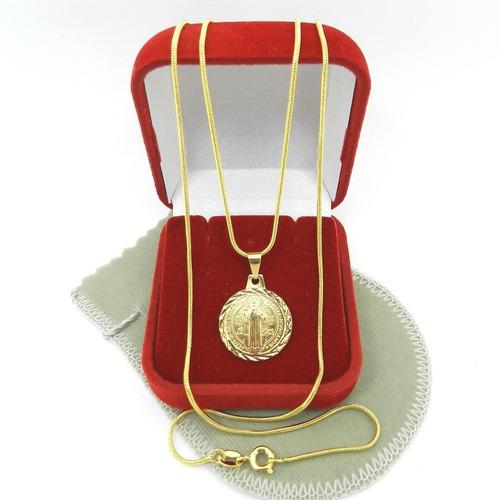 corrente masculina 50cm 1mm + são bento folheado ouro cr212