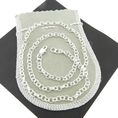 corrente masculina 50cm 4mm largura folheada prata cr535