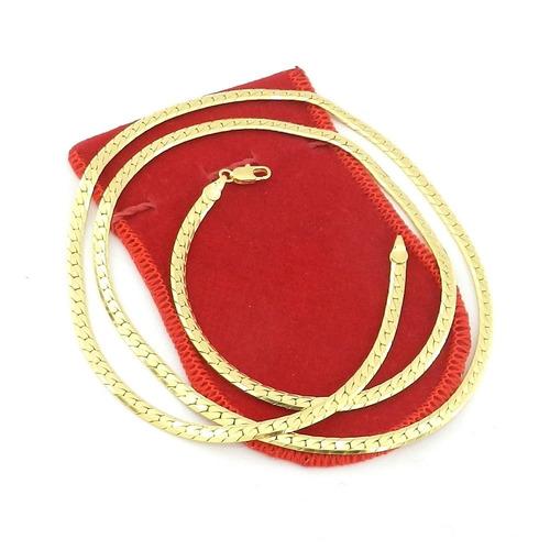 corrente masculina 50cm 4mm largura folheado ouro cr606