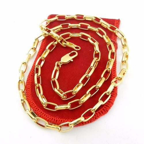 corrente masculina 50cm 5mm largura folheado ouro cr448
