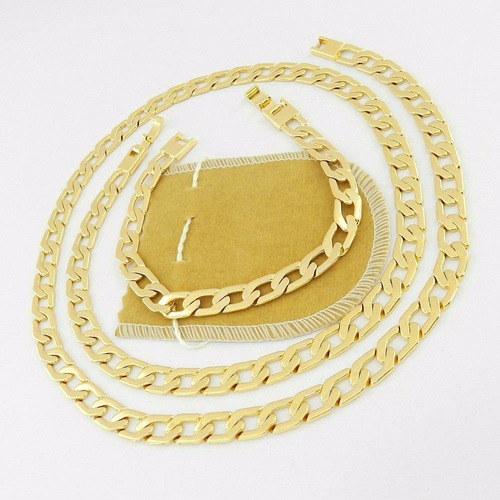 corrente masculina 50cm 8mm + pulseira folheada ouro cr350