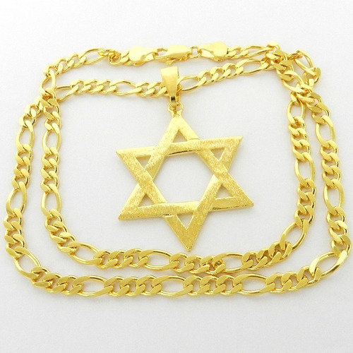corrente masculina 53cm 5mm estrela folheada ouro cr115
