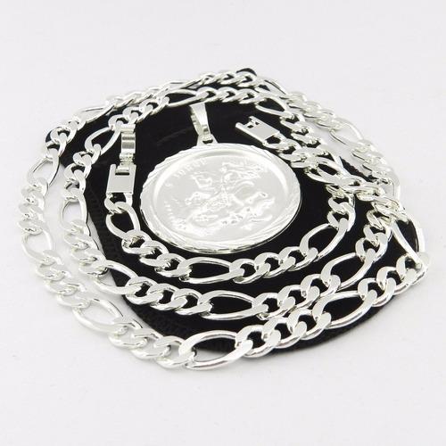 corrente masculina 53cm 7mm + são jorge folheada prata cr463