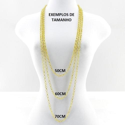 corrente masculina 60cm 4mm largura folheado ouro cr539