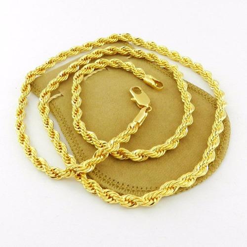 corrente masculina 60cm 5mm diametro folheada ouro cr178