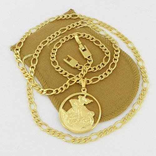 corrente masculina 60cm 5mm são jorge folheado ouro cr123