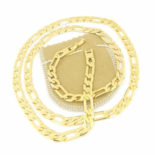 corrente masculina 60cm 7mm largura folheada ouro cr406
