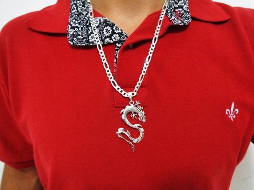 corrente masculina 60cm dragão chinês pingente prata pura925