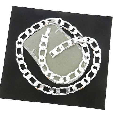 corrente masculina 70cm 12mm largura folheada prata cr381