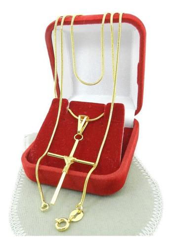 corrente masculina 70cm 1mm + cruz folheada ouro cr659