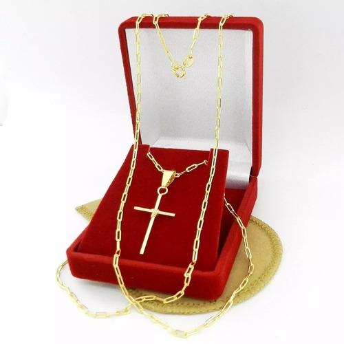 corrente masculina 70cm 2mm + cruz folheado ouro