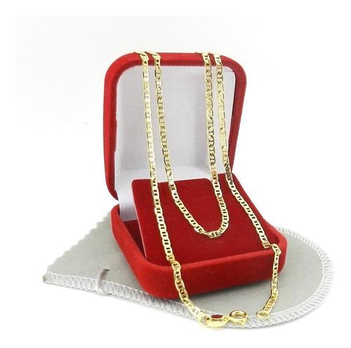 corrente masculina 70cm 2mm largura folheada ouro cr522