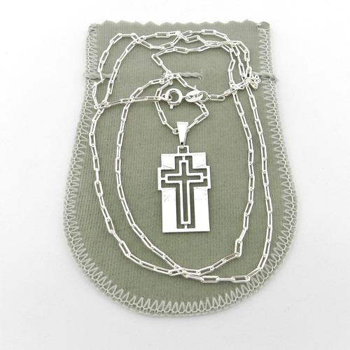 corrente masculina 70cm 2mm + placa folheada prata cr647
