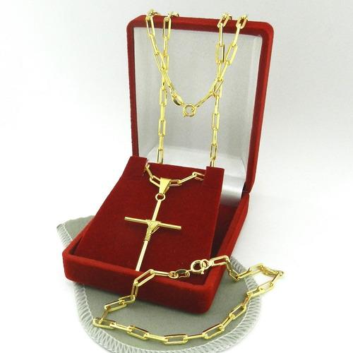 corrente masculina 70cm 3mm cruz pulseir folheado ouro cr680