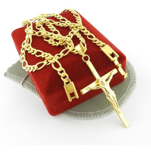 corrente masculina 70cm 5mm + cruz folheado ouro cr346