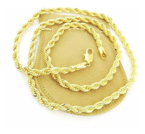 corrente masculina 70cm 6mm diametro folheada ouro cr269