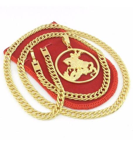 corrente masculina 70cm 6mm + são jorge folheado ouro cr671