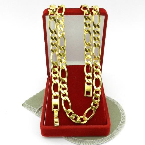 corrente masculina 70cm 7mm largura folheado ouro cr144